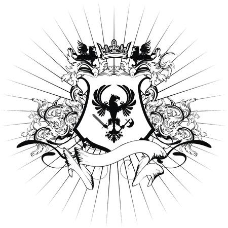 shield wings: heraldic coat of arms ornament Illustration