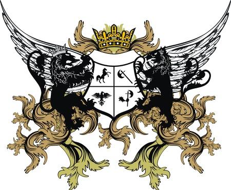 winged lion: Adorno de Escudo her�ldico