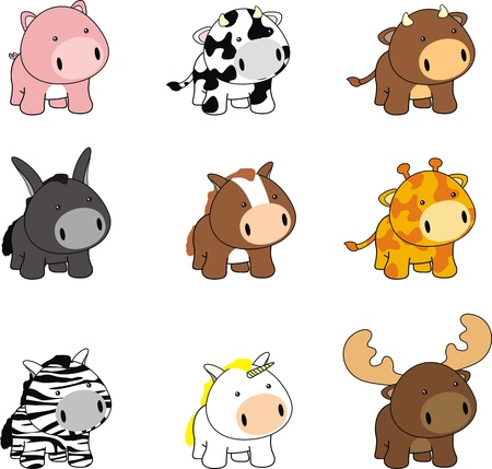 infantile: baby animals cartoon set pack Illustration