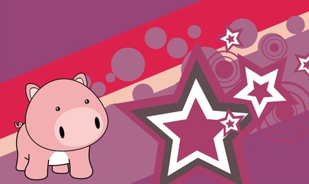 pig baby cartoon  background in very easy to edit011 Vector