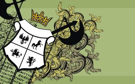 leon alado: Fondo de ornamento her�ldico Vectores