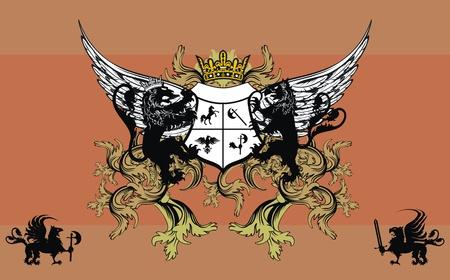 winged lion: Fondo de ornamento her�ldico Vectores