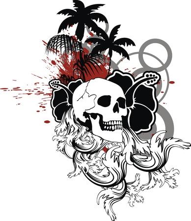 desing: hawaiian skull ornament