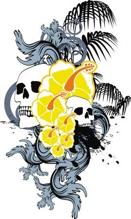 hawaiian skull ornament Vector