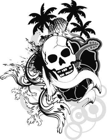 tattoo design: hawaiian skull ornament