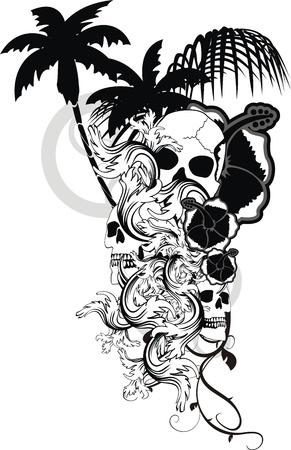 Hawaiian skull ornament Vectores