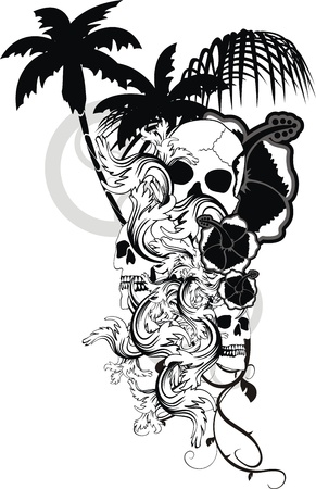 tattoo design: Hawaiian skull ornament Illustration