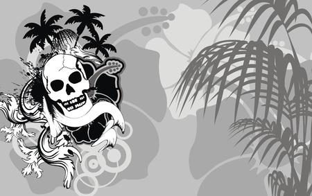 heraldic hawaiian skull backgorund Vector