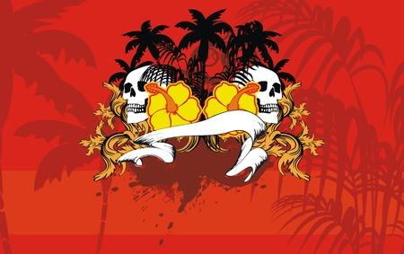 紋章のハワイアン スカル backgorund