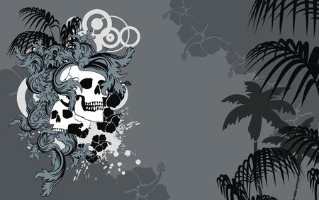 desing: heraldic hawaiian skull backgorund