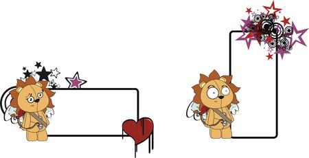 lion cupid cartoon copyspace in vector format