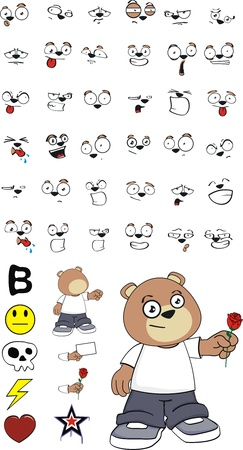 teddy bear kid cartoon set in vector format1 Vector