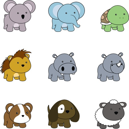 animals baby cartoon set in vector format