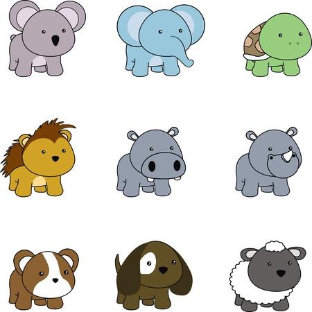 animals baby cartoon set in vector format