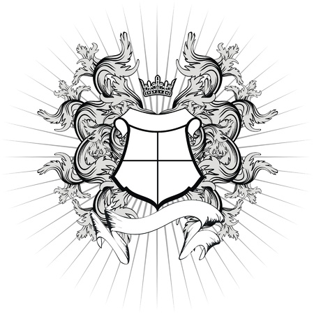 crown tattoo: heraldic coat of arms copyspace in vector format very easy to edit