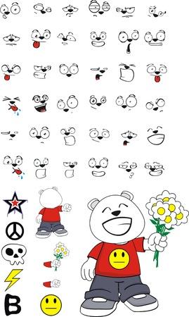 polar bear kid cartoon set in vector format