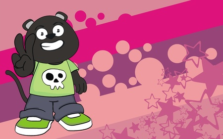 panther kid cartoon background Vector
