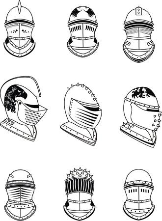 紋章入りのヘルメット セット ベクトル形式で