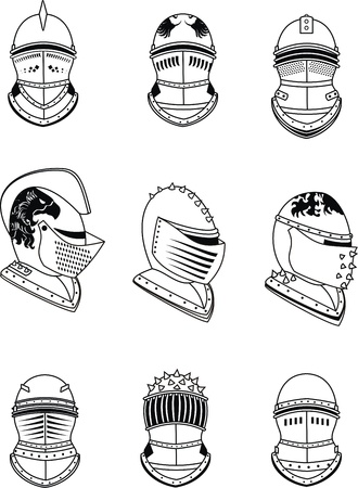 heraldic helmet set in vector format