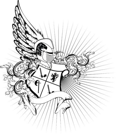 lion wings: casco her�ldica escudo en formato vectorial Vectores