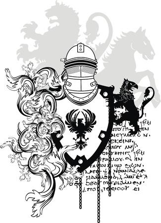 lion wings: heraldic helmet coat of arms in vector format