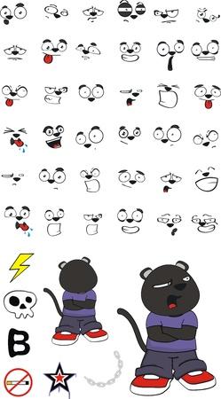 panther kid cartoon set in vector format02 Vector