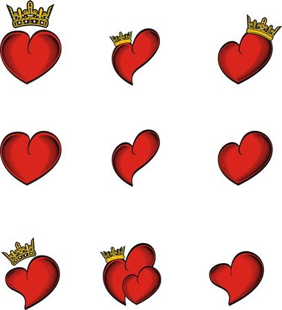 heart tattoo crown in vector format very easy to edit