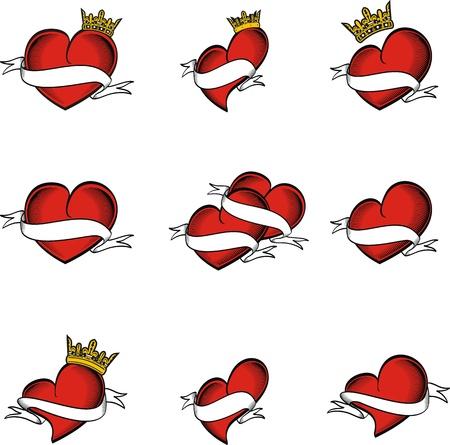 hart tatoeage kroon in vector-formaat zeer gemakkelijk te bewerken