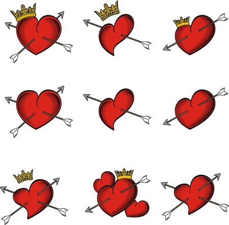 heart and crown: freccia di corona tatuaggio cuore in formato vettoriale molto facile da modificare