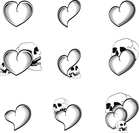 drawings image: heart tattoo skull in vector format very easy to edit