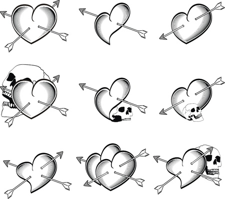 love image: heart tattoo skull arrow in vector format very easy to edit