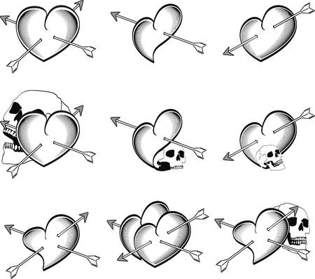 heart very: heart tattoo skull arrow in vector format very easy to edit