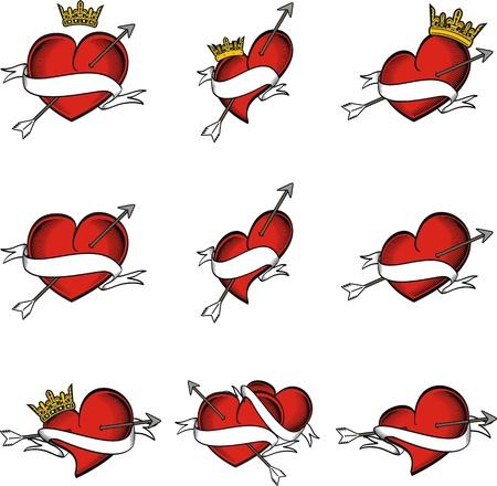 hart tatoeage kroon pijl in vector-formaat zeer gemakkelijk te bewerken Stock Illustratie