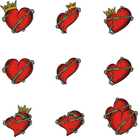 heart and crown: corona di tatuaggio di cuore in formato vettoriale molto facile da modificare Vettoriali