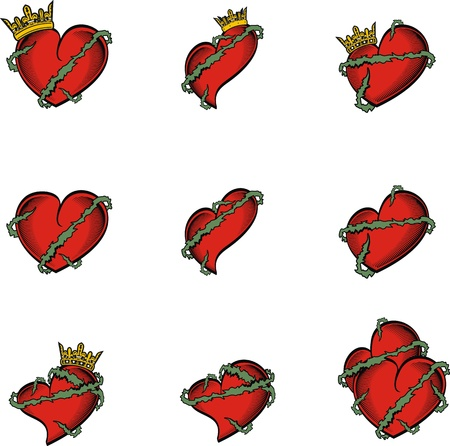 heart tattoo: heart tattoo crown in vector format very easy to edit