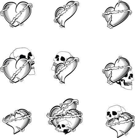 heart tattoo skull in vector format very easy to edit Vector
