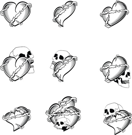 love image: heart tattoo skull in vector format very easy to edit