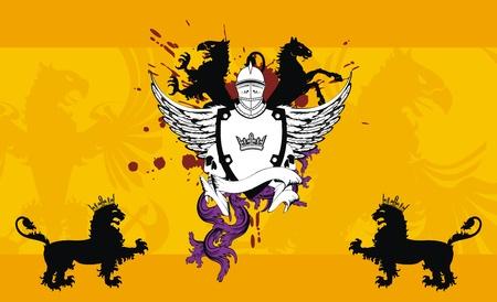 winged lion: Fondo de Escudo her�ldico casco en formato vectorial muy f�cil editar