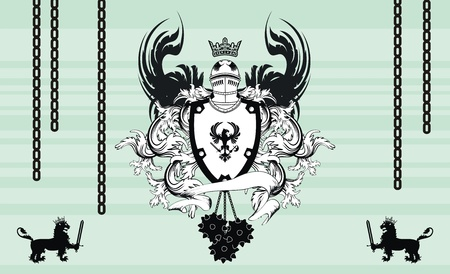 heraldic helmet coat of arms background in vector format very easy to edit Vector