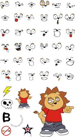 lion kid cartoon set in vector format Vector