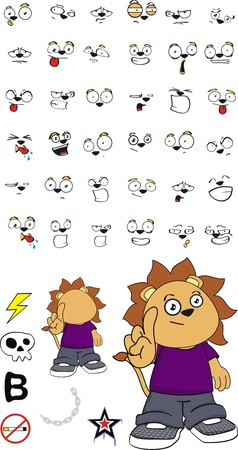 lion kid cartoon set in vector format Vector