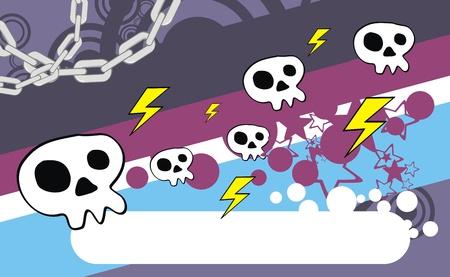 ベクトル形式の頭蓋骨漫画の背景  イラスト・ベクター素材