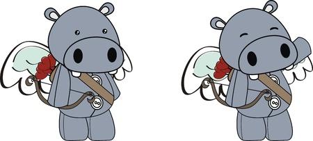 hippo cupid cartoon  in vector format Vector