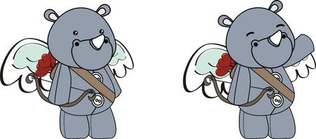 rhino cupid cartoon  in vector format 向量圖像