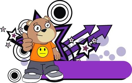 teddy bear kid cartoon sticker in vector format