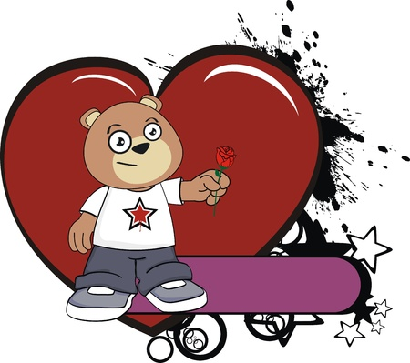 star: teddy bear kid cartoon sticker in vector format