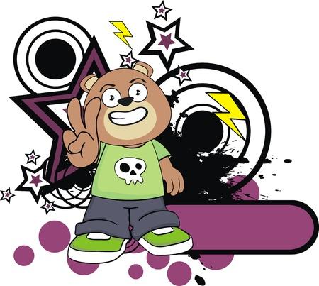 teddy bear kid cartoon sticker in vector format Vector