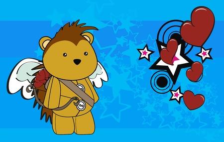 porcupine: porcupine cupid cartoon background in vector format