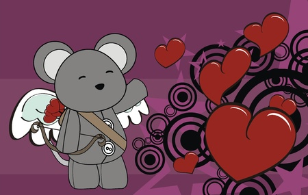 mouse cupid cartoon background in vector formatpu Vector