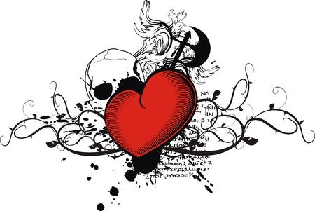 skull tattoo: heraldische hart in vector-formaat